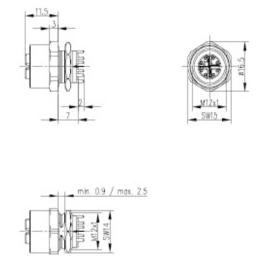 Weatherproof Electrical Connectors in addition Rj45 Wiring Diagram 4 Pin also Contact Position Chart besides M12 Connector 8 Pole also Profibus Wiring Diagram. on m12 ethernet wiring diagram